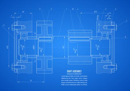 plan d'ensemble de l'arbre, projet dessin technique sur le fond bleu.