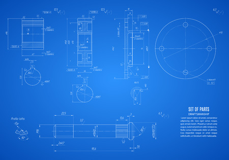 shaft: blueprint of gears and shaft, project technical drawing on the blue background.