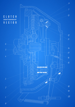 clutch: blueprint of clutch, project technical drawing on the blue background.