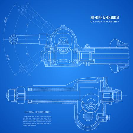 ステアリング機構、プロジェクト ブルーの背景上に描画技術の青写真。  イラスト・ベクター素材