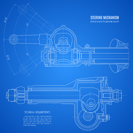 blueprint of steering mechanism, project technical drawing on the blue background. Illustration