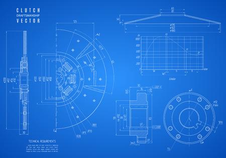 plan d'embrayage, projet dessin technique sur le fond bleu. Vecteurs