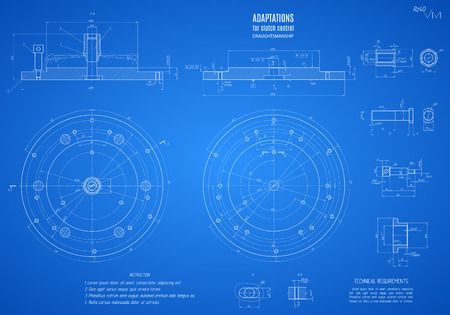 blueprint of clutch, project technical drawing on the blue background.