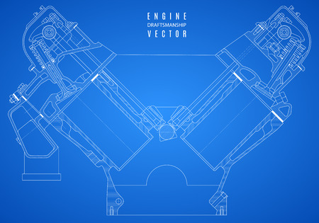 blueprint engine, project technical drawing on the blue background.