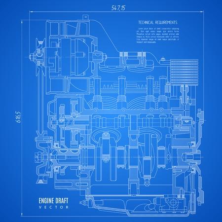 motor de planos, dibujo técnico del proyecto sobre el fondo azul.