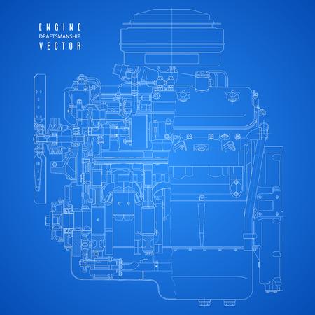 moteur de plan, projet dessin technique sur le fond bleu.