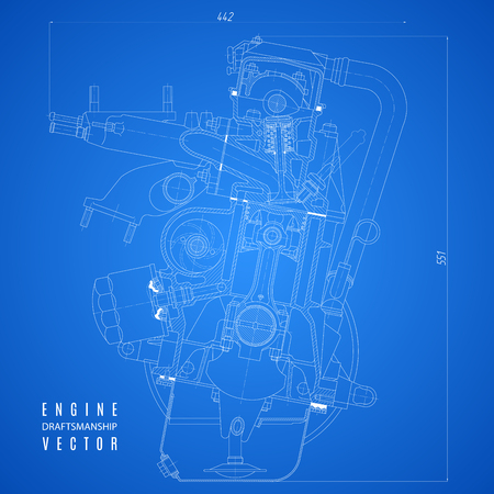 Blueprint engine project technical drawing on the blue background blueprint engine project technical drawing on the blue background stock vector 61564257 malvernweather Image collections