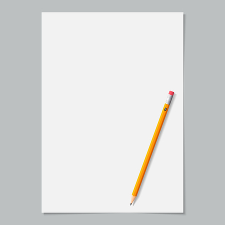sharpened: blank paper page white color with sharpened yellow pencil on the grey background. stock vector illustration