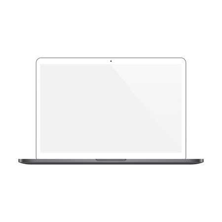 laptop screen: laptop white color with blank screen isolated on white background. Illustration