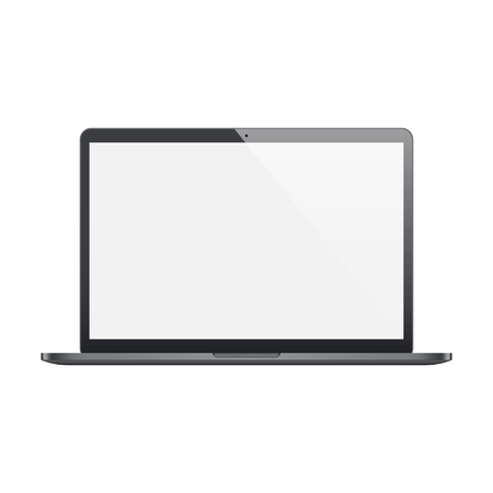 frosted: laptop frosted black color with blank screen isolated on white background.