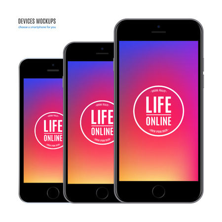 smartphone mockup set with colorful screen isolated on white background. stock vector illustration eps10