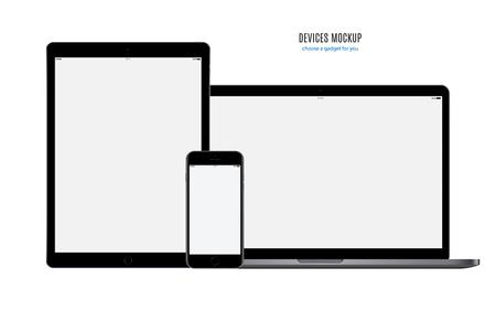 モックアップ デバイス: スマート フォン、タブレット、ノート パソコンと空白の画面が白い背景で隔離。株式ベクトル イラスト。