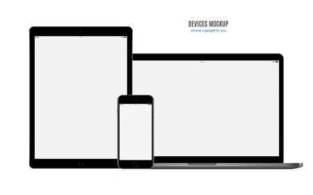 Mockup devices: smartphone, tablet and laptop with blank screen isolated on white background. stock vector illustration. Ilustrace