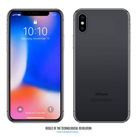 Black phone with colored screen.