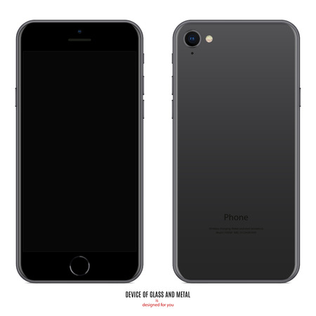 smartphone in in matte black color with blank screen and back side on white background. stock vector illustration eps10 Illustration