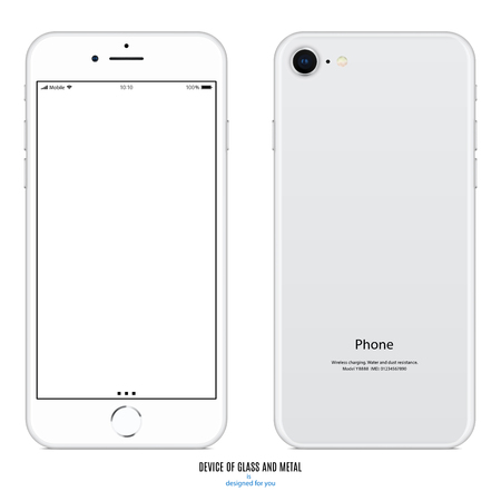Smartphone with blank screen and back side on white background stock vector illustration.