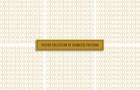 seamless patterns set of golden color on white background. stock vector illustration eps10