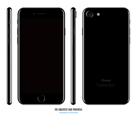 smartphone mockup in black color with blank screen front, back and side on white background. stock vector illustration eps10