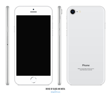 smartphone mockup in silver color with blank screen front, back and side on white background. stock vector illustration eps10 Stock Illustratie