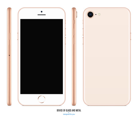 smartphone mockup in gold color with blank screen front, back and side on white background. Illustration