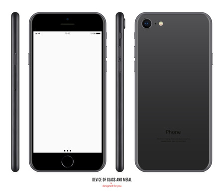 smartphone mockup in matte black color with blank screen front, back and side on white background. stock vector illustration eps10 Stockfoto - 104113513