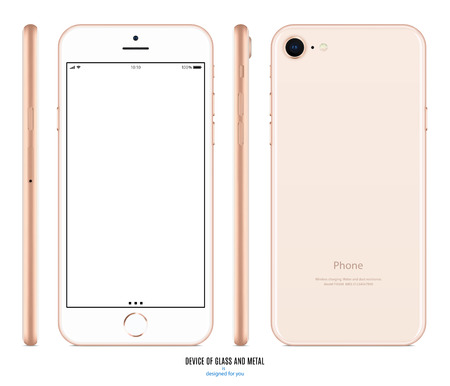 smartphone mockup in gold color with blank screen front, back and side on white background. stock vector illustration eps10