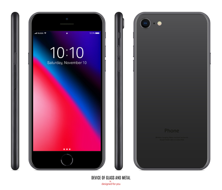 smartphone mockup in black color with colorful screen front, back and side on white background. stock vector illustration eps10 Stock Illustratie