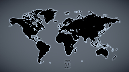 world map with backlight on a gray wall background as an element of design.
