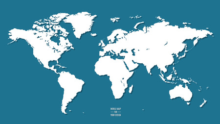 world map in flat design style on a blue background as an element of design. Stock Illustratie