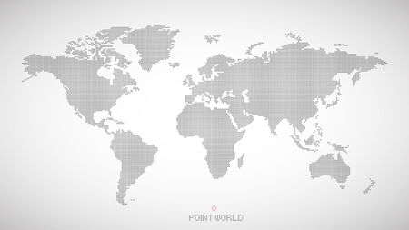 world map of black dots on grey background.
