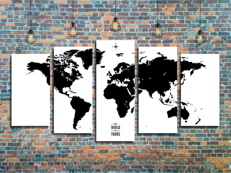 world map with Edison lamps on a brick wall background in loft style design.