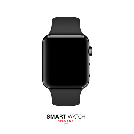 smart watch black color on white background. stock vector illustration eps10 Иллюстрация