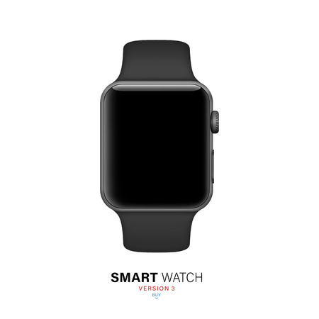 smart watch black matte color on white background. stock vector illustration eps10