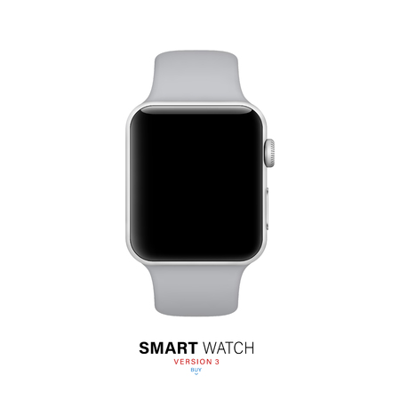 smart watch silver color on white background. stock vector illustration eps10 Stock Illustratie
