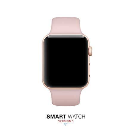 smart watch gold color on white background. stock vector illustration eps10 Stock Illustratie
