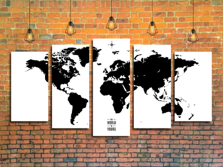 world map with Edison lamps on a brick wall background in loft style design. stock vector illustration