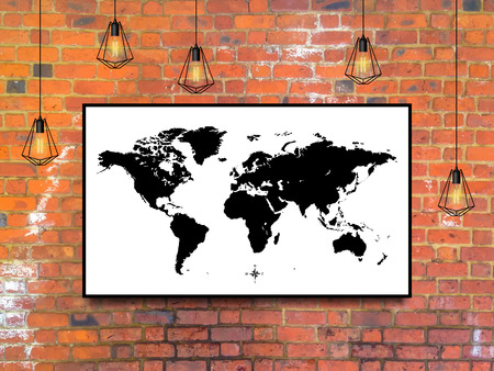 world map in a frame with Edison lamps on a brick wall background in loft style design. stock vector illustration Stock Illustratie