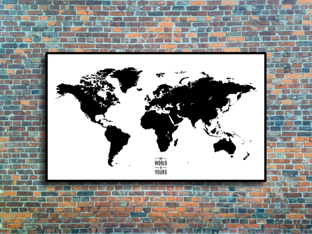 world map in a frame on brick wall background in loft style design. stock vector illustration