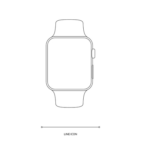 smart watch outline icon on white background. stock vector illustration eps10