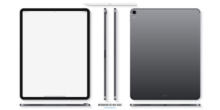 Tablet mockup in grey color with blank screen front, back and side on white background. Stock Illustratie