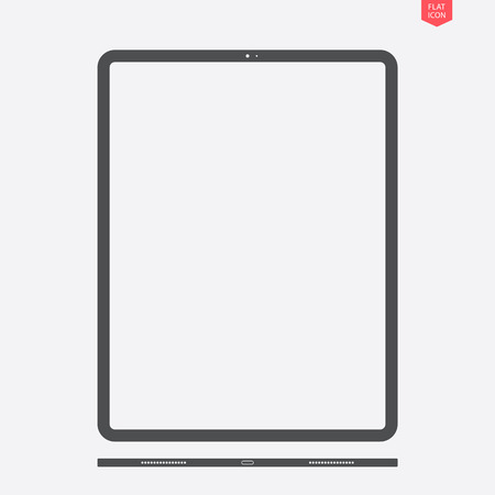 tablet icon in the flat style with a view from below on grey background. stock vector illustration eps10 Stock Illustratie