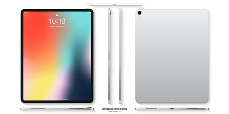 tablet mockup in silver color with colorful screen front, back and side on white background. stock vector illustration eps10 Иллюстрация