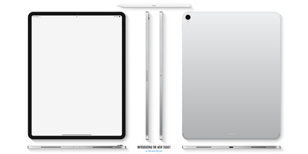 tablet mockup in silver color with blank screen front, back and side on white background. stock vector illustration eps10