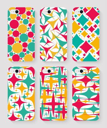 set of phone cases with colorful print top view on grey background. stock vector illustration