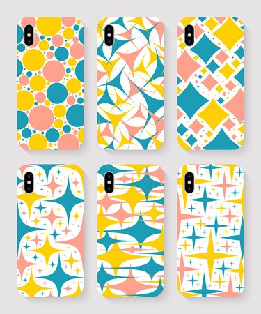 set of smartphone cases with colored print top view on grey background. stock vector illustration