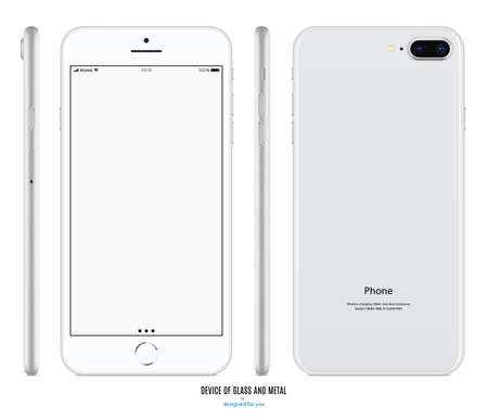 smartphone silver color with blank screen front, back and side view isolated on white background. stock vector illustration eps10 Vector Illustratie