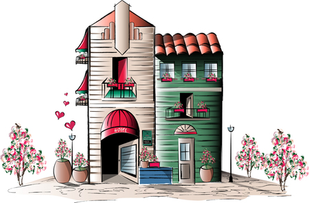 apartmant: Summer Hotel Illustration Stock Photo