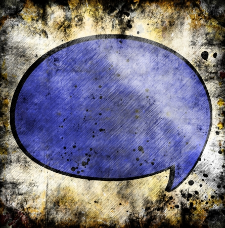 Blue speech bubble on grunge background
