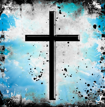 grunge background with cross and spots photo
