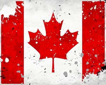 Grunge Canada flag with stains - flag series photo